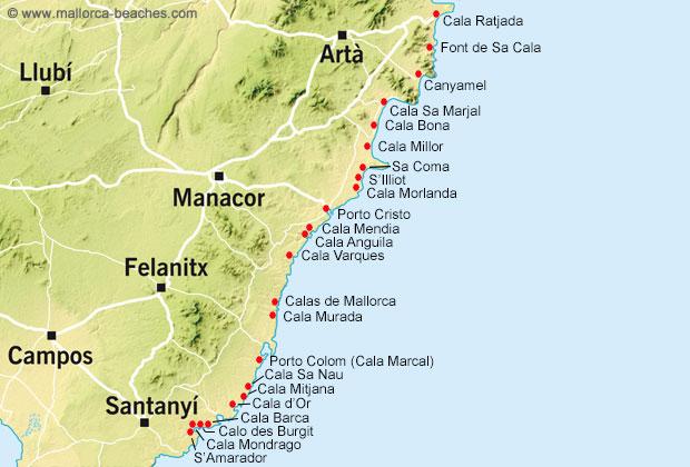Karta Mallorca öst