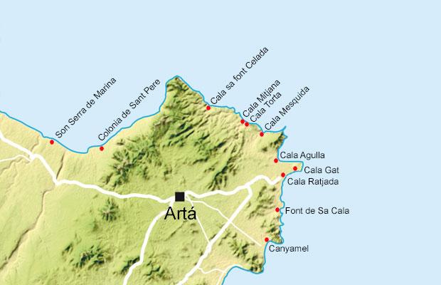 Mallorca kort nordøst