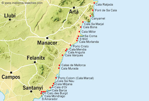 Mallorca map east