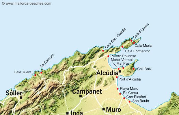 Mallorca map north